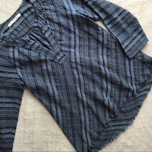 Xirena Chambray Fray Hem Tunic Top Blue Lagenlook